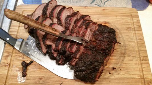 3.5 Lb. chuck roast...5+ hours over oak and pecan.  Good stuff!