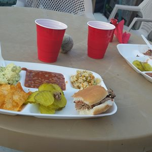 of course some of the state famous Daves stickie Pig barbque and fixins