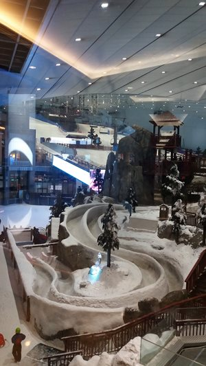 A mall bige nough for a ski slope and winter games x