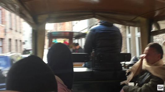 Horse ridden carriages in the streets of Brugge
